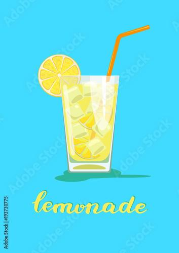 Fototapeta Glass of lemonade. Glass of lemon cocktail with straw on blue background. Vector illustration