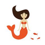 Cute Little Mermaid  School Of Fish     Wall Sticker