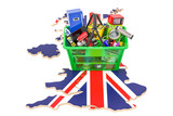 Map Of The United Kingdom  Shopping Basket Full Of Home And Kitchen Appliances 3d Rendering Wall Sticker