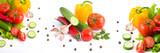 Fresh vegetables on a white background.