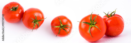 Poster Verse groenten Fresh tomatoes isolated on white background. The panoramic red ripe tomatoes isolated on white background. Tomatoes on white background.