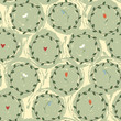 Floral seamless pattern with circles and hearts. Vector. - 193743307