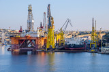 Commercial port of Valletta with cranes - 193743379