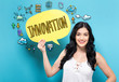 Innovation with young woman holding a speech bubble