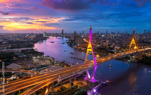 Foto op Plexiglas Bangkok View of Bhumibol Bridge in Bangkok