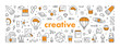 Vector line web banner for creative