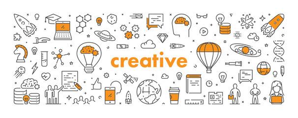 Vector line web banner for creative © karpenko_ilia