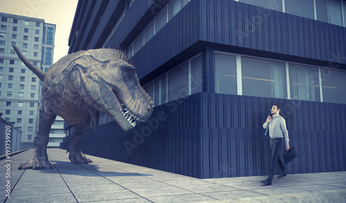 Businessman walking in town and a dinosaur - 193759920