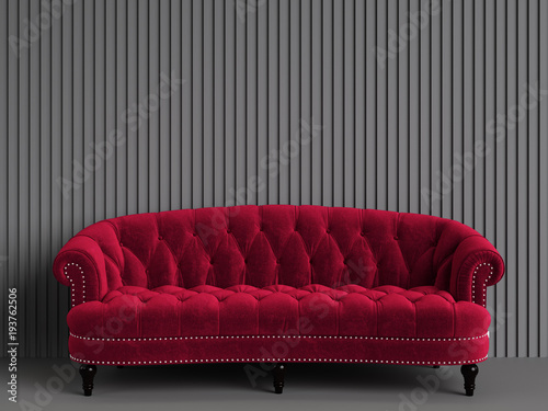 Classic tufted sofa red color in empty grey room with relief stripe ...