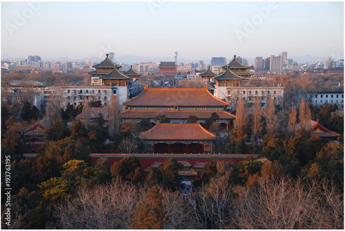 Foto op Canvas Peking View of Beijing historic city centre from the top Jingshan Park