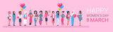 Happy Intenational Womens Day Horizontal Banner Group Of Diverse Girls Over Pink Background Vector Illustration - 193767792