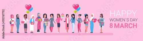 Happy Intenational Womens Day Horizontal Banner Group Of Diverse Girls Over Pink Background Vector Illustration