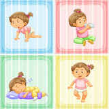 Four actions of little girl