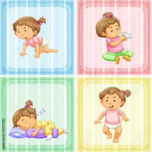 Fototapeta Four actions of little girl