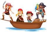 Pirate and crew on wooden ship