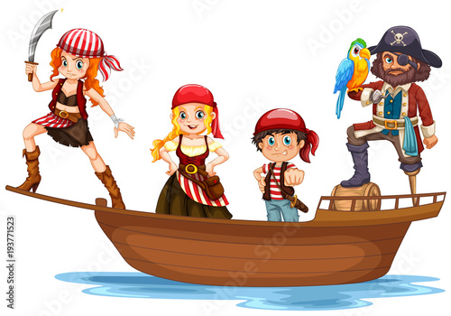 Deurstickers Kids Pirate and crew on wooden ship
