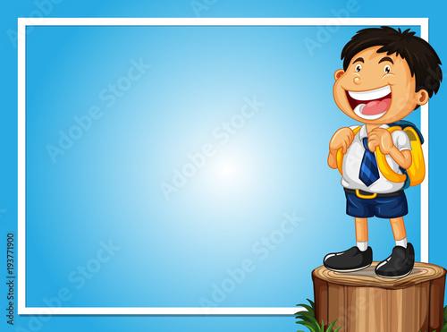 Aluminium Kids Frame template with happy boy on log
