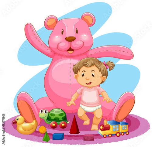 Aluminium Kids Baby girl and pink teddybear