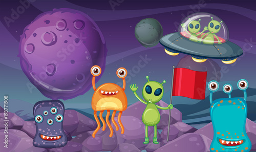Deurstickers Kids Space theme with aliens on planet