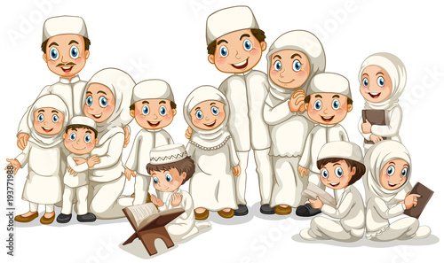 Deurstickers Kids Muslim family in white costume
