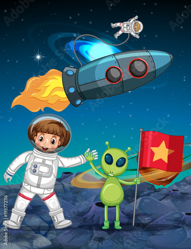 Tuinposter Kids Astronaut and alien in space