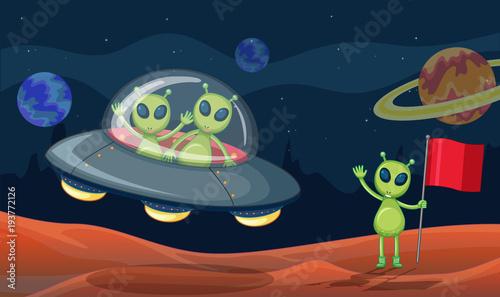 Foto op Canvas Kids Green aliens in UFO