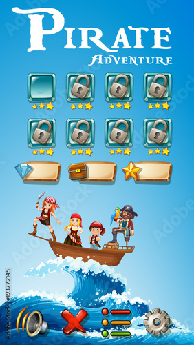 Deurstickers Kids Game template with pirate adventure theme