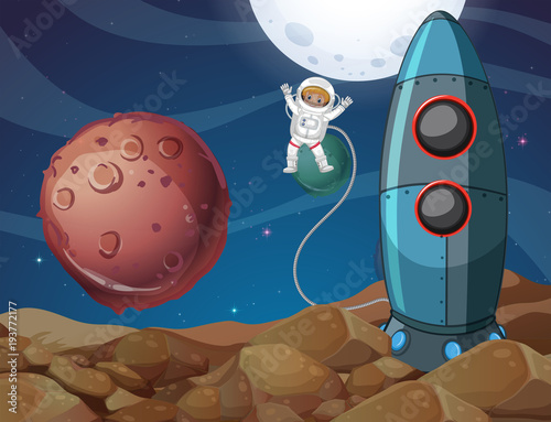 Deurstickers Kids Spaceman exploring new planet