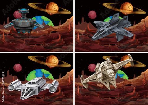 Aluminium Kids Four scenes of spaceship flying in space