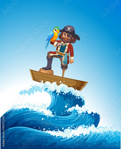 Aluminium Kids Pirate and parrot pet on wooden boat