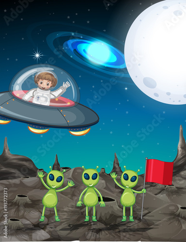 Deurstickers Kids Space theme with astronaut and three aliens