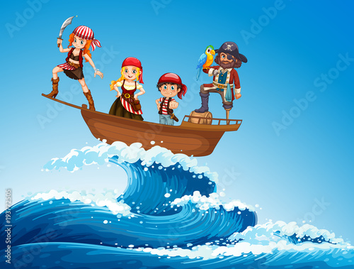 Deurstickers Kids Pirates on ship in the sea