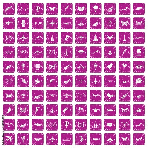 Papiers peints Papillons dans Grunge 100 fly icons set grunge pink