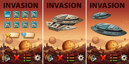 Deurstickers Kids Game template with space invasion theme
