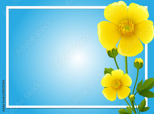 Aluminium Kids Border template with yellow flowers