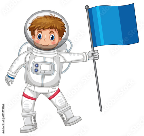 Tuinposter Kids Astronaut holding blue flag