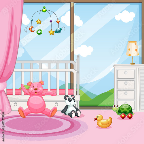 Deurstickers Kids Bedroom scene with babycot and dolls