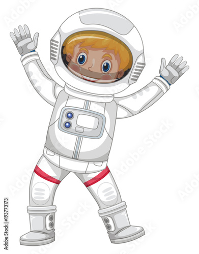 Aluminium Kids Astronaut in white spacesuit on white background
