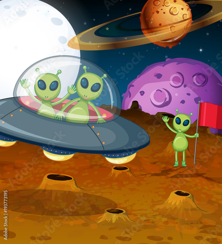 Deurstickers Kids Space theme with aliens in UFO