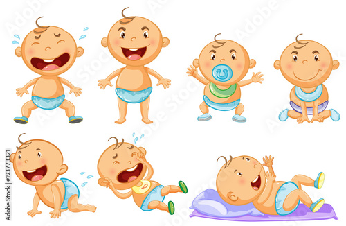 Deurstickers Kids Baby boy in different actions