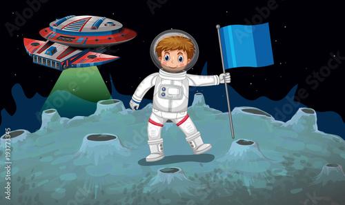 Aluminium Zwart Astronaut and spaceship on the moon