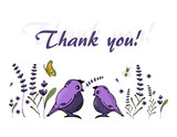 Vector thank you cards. With lavender flowers  and  cute birds on white background.
