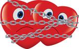 cuore rosso immobilizzato e incatenato - 193775198