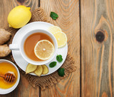Cup of tea with lemon and ginger - 193776975
