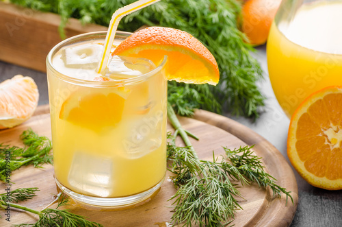 Foto op Canvas Sap Fresh juice orange with ice