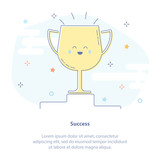 Premium quality icon concept of Success, Winner or Champion. Cup, reward on the pedestal. Flat thin line icon design. - 193780992