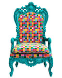 Classic baroque armchair in pop art style  isolated on white background.Digital Illustration.3d rendering