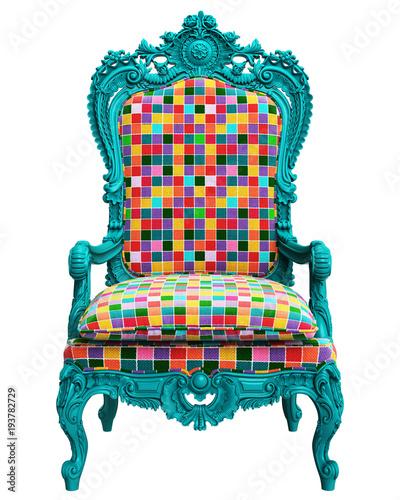 Plexiglas Pop Art Classic baroque armchair in pop art style isolated on white background.Digital Illustration.3d rendering