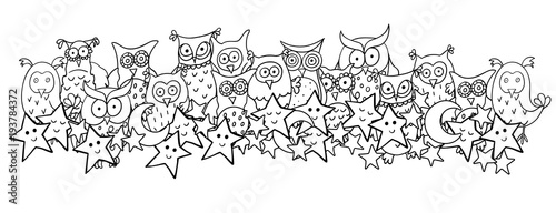 Fotobehang Uilen cartoon Horizontal illustration with cute cartoon owls, moons and sleeping or smiling stars. Vector cartoon image with black contour isolated on white background.
