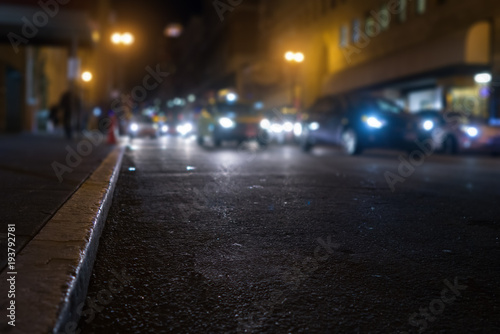Fotobehang San Francisco San Francisco streets with blurred background at night
